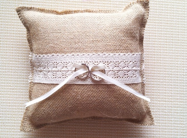 rustic country hessian Burlap wedding ring bearer burlap ring