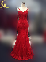 JIALINZEYI Sexy Spaghetti Strap Red Lace Appliques With Beads Sexy V Backless Mermaid Wedding Gown Wedding