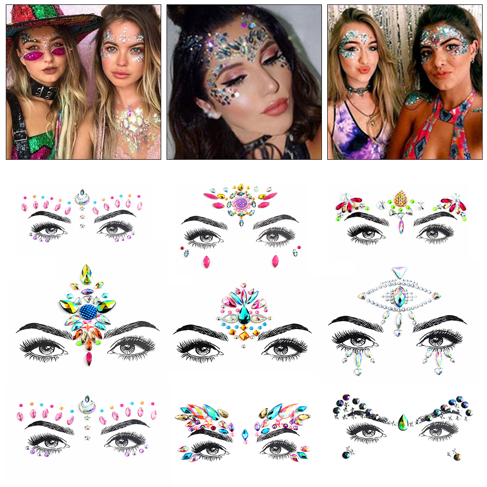 Face Adhesive Jewelry Gems Temporary Tattoo Face Jewelry Festival Party Body Art Gems Rhinestone Flash Tattoos Stickers Make Up