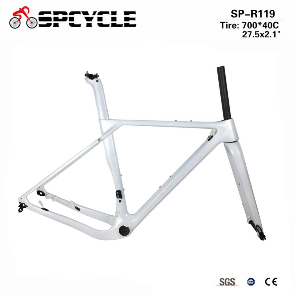 Spcycle 2018 New Aero Carbon Gravel Frame Disc Brake Road Cyclocross Bike Frames 27.5er Carbon MTB Frame 142*12mm Thru Axle