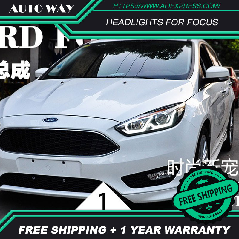 Free shipping Car styling LED HID Rio LED headlights Head Lamp case for Ford Focus 2015