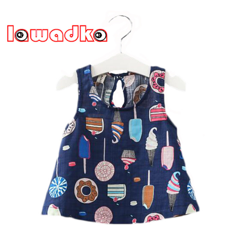 Lawadka Ice Cream Pattern Dark Blue White Kids Dress Cotton Linen Princess Style Dresses For Girls Children  Clothes