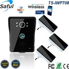 2016 sans fil wifi interphone vidéo porte téléphone pour contrôle d'accès système Android IOS Téléphone APP À Distance avec 3 dingdong sonnettes
