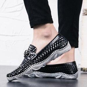 Мужские вечерние туфли с крокодиловым осьминога, воздухопроницаемые повседневные лоферы из спилка на плоской подошве для свадьбы, 2019
