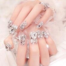 False Nails Diamond Jewelry for Bride Wedding 24Pcs 3D Nail Art Manicure Rhinestones Decoration Fake Nails Tips with Nail Glue