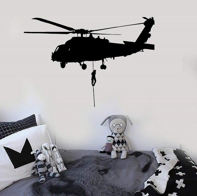 Calcomanía de vinilo para pared, helicóptero, Fuerza Aérea, pegatinas de arte militar, regalo único 2FJ9