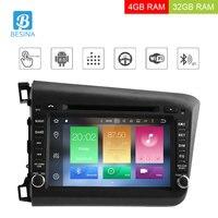 Besina Android 8,0 2 Din автомагнитола для Honda Civic 2011 2015 Мультимедиа gps Navi wifi Octa Cores 4 Гб ram CD DVD видео плеер RDS