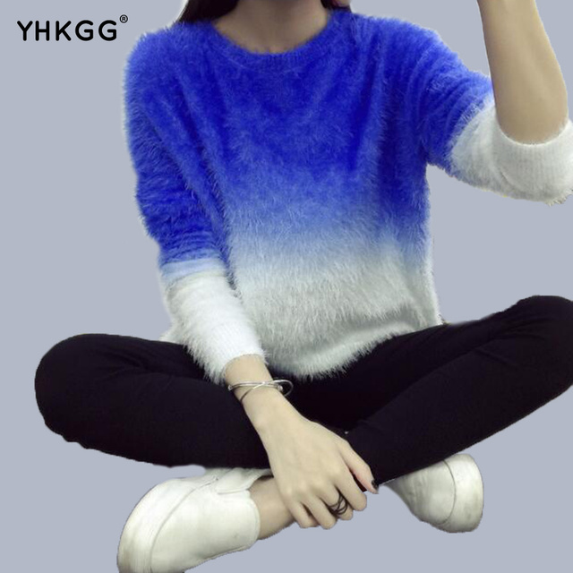 2d3827b1bffd YHGGG Gradient Colors Sweater 2016 New Fashion Pullovers Oversized Sweater  Fluffy Mohair Knit Women s Knitted Sweater