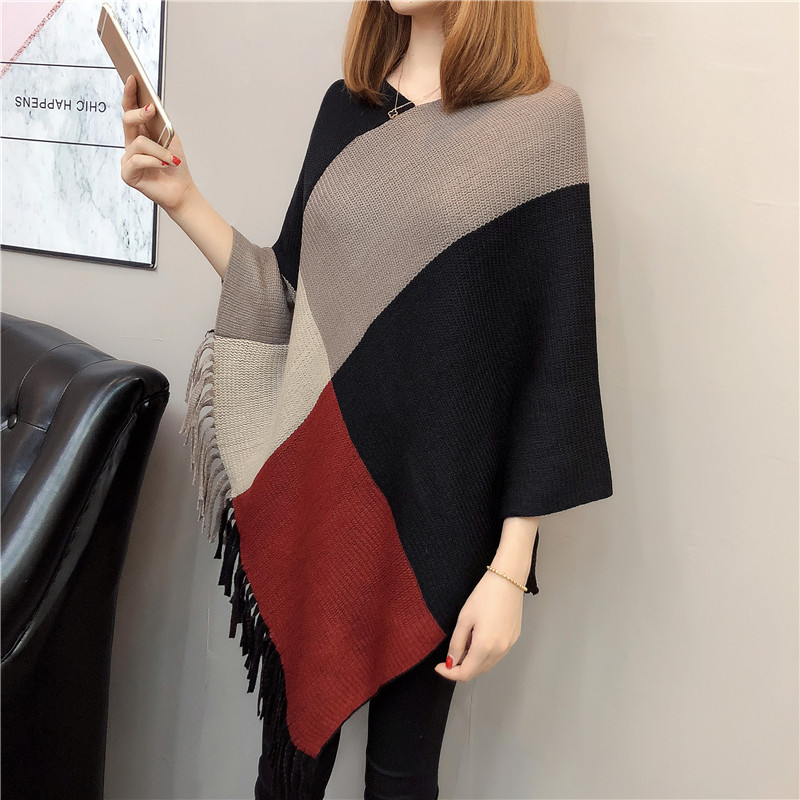 NiceMix 2019 Autumn Women Sweater Batwing Knitwear Sleeve Tassel Loose Pullover Blouse Irregular Cloak Poncho Cape Knitting Tops