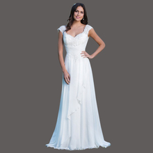 Cheap Sweetheart White Greek Wedding Gowns Gothic Vestido De Novia Lace Up Back Chiffon 2017 Wedding Dress With Train KS54