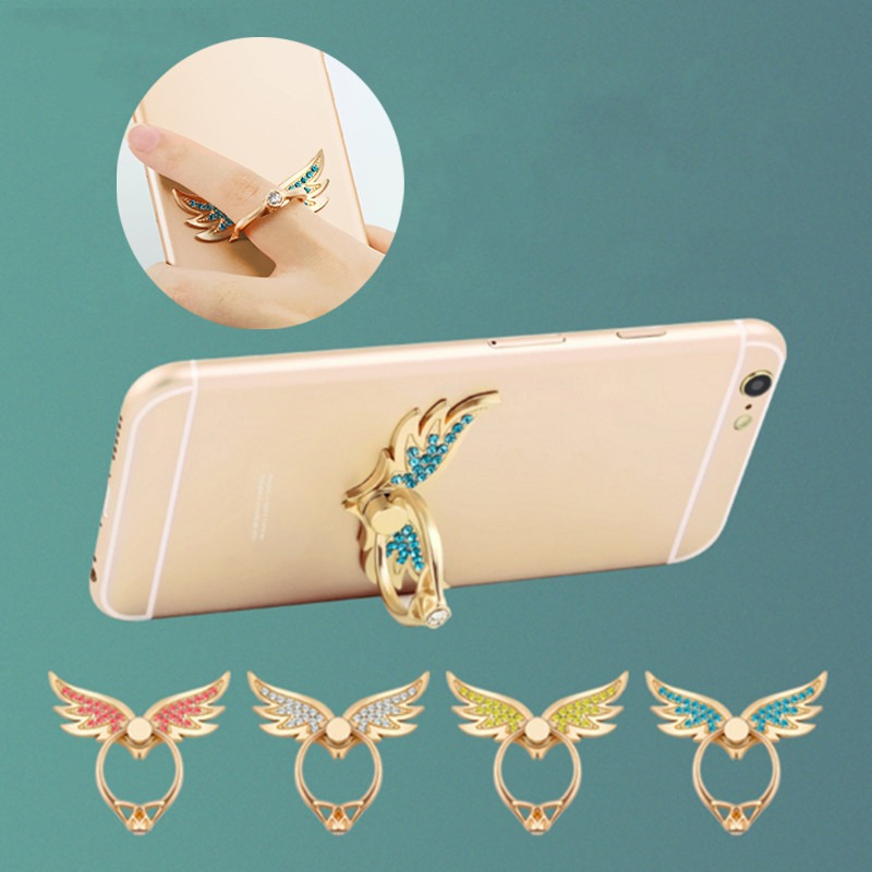 Wing Shape Fashion 360 Degree Metal Red White Blue Finger Ring Mobile Phone Smartphone Stand Holder