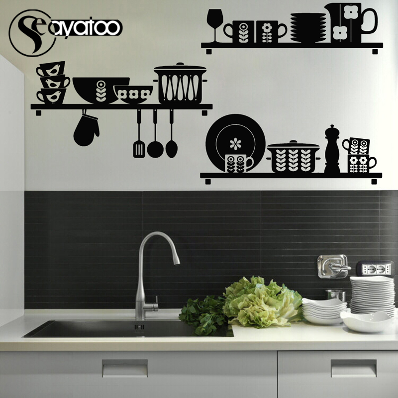 Kitchen Art Removable Vinyl Wall Sticker Decal Mural Cafe Dining Room Stickers Home Decor 80x90cm