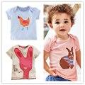 Camiseta de la muchacha Del Bebé de Las Tapas de Verano Marca de Ropa Para Niños camisetas de Las Muchachas de Conejo Bordado Patrón Niños Camiseta Ropa de Los Niños