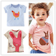 Girl T shirt Baby Girls Tops Summer Brand Kids Clothes Girls T shirts Rabbit Embroidery Pattern Kids T-shirt Children Clothing(China)