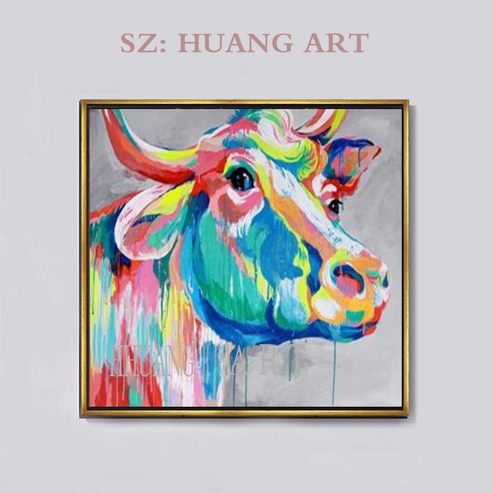 Fait à la main grand combat taureau peinture moderne décor à la maison mur Art photos peint à la main abstraite Animal vache peintures à l'huile sur toile