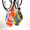 New fashion woman painted glass water droplets necklace pendants free chain wholesale N-056