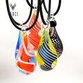 Nueva moda mujer pintada gotitas de agua de cristal colgantes del collar cadena libre al por mayor N-056