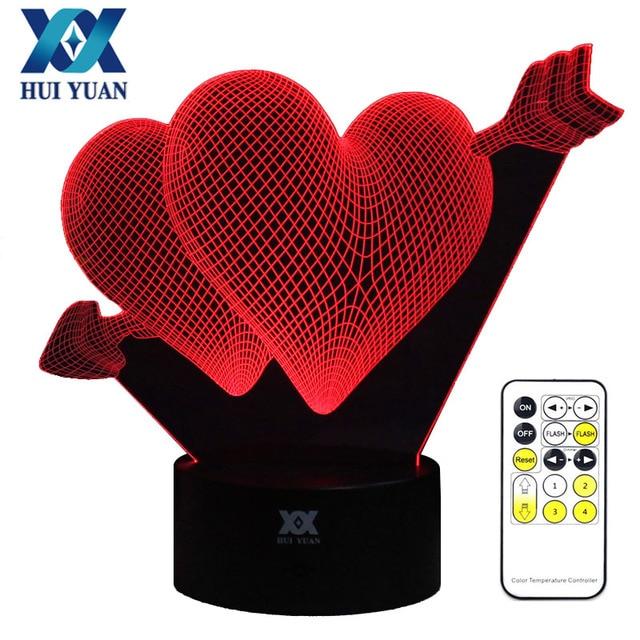 IHOMELF Marka Yaratıcı 3D illusion Lamba Aşk LED Gece Işıkları Akrilik Renk Değişikliği Renkli Lamba Aydınlatma Uzaktan kumanda