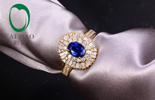 Free shipping Natural Pave Set Diamond 5x7mm Oval Cut 1.02ct Sapphire Engagement 18K Yellow Gold Hot Sale Ring