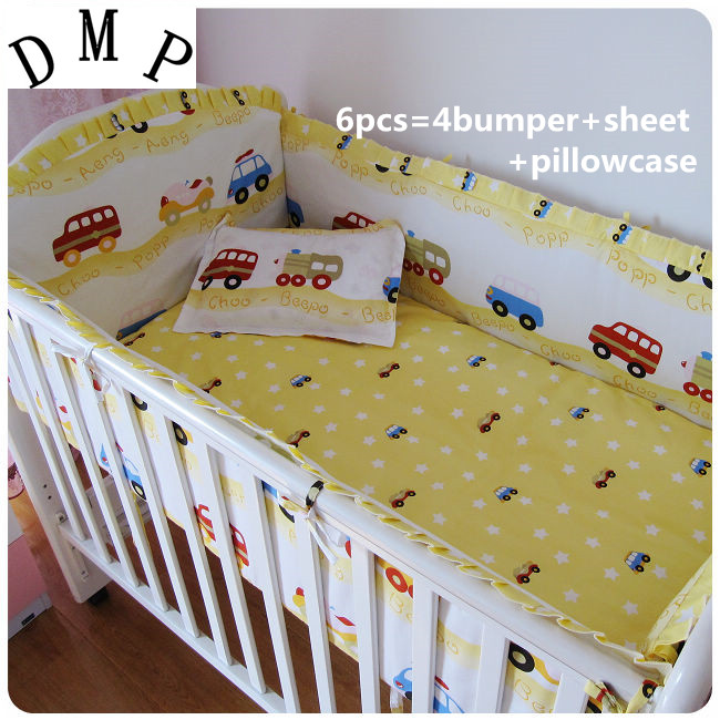 Promotion! 6PCS 100% Cotton Baby Cot Bedding Sets Piece Set Baby Crib Bedding Set For Baby Bed (bumpers+sheet+pillow Cover)