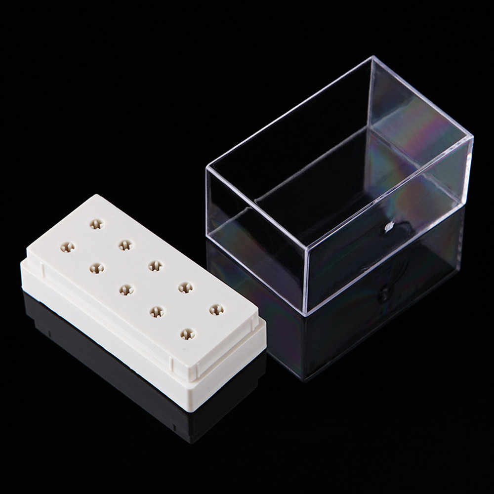 Hot Selling 10 Holes Nail Drill Bit Holder Display Standing With Cover Storage Box Organizer Case Organizador De Maquillaje