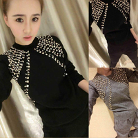 Limited Cotton Polyester Full Rivet O neck 2018 Spring New Set Of Fashion Beaded Knit Sweater + Harem Pants Two Sets