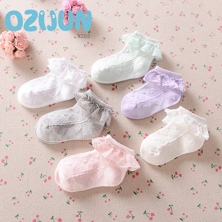 Ny sommer Candy Colors Retro Lace Ruffle Frilly Ankel Short Socks Kids Prinsesse Baby Girl Socks Retail et par