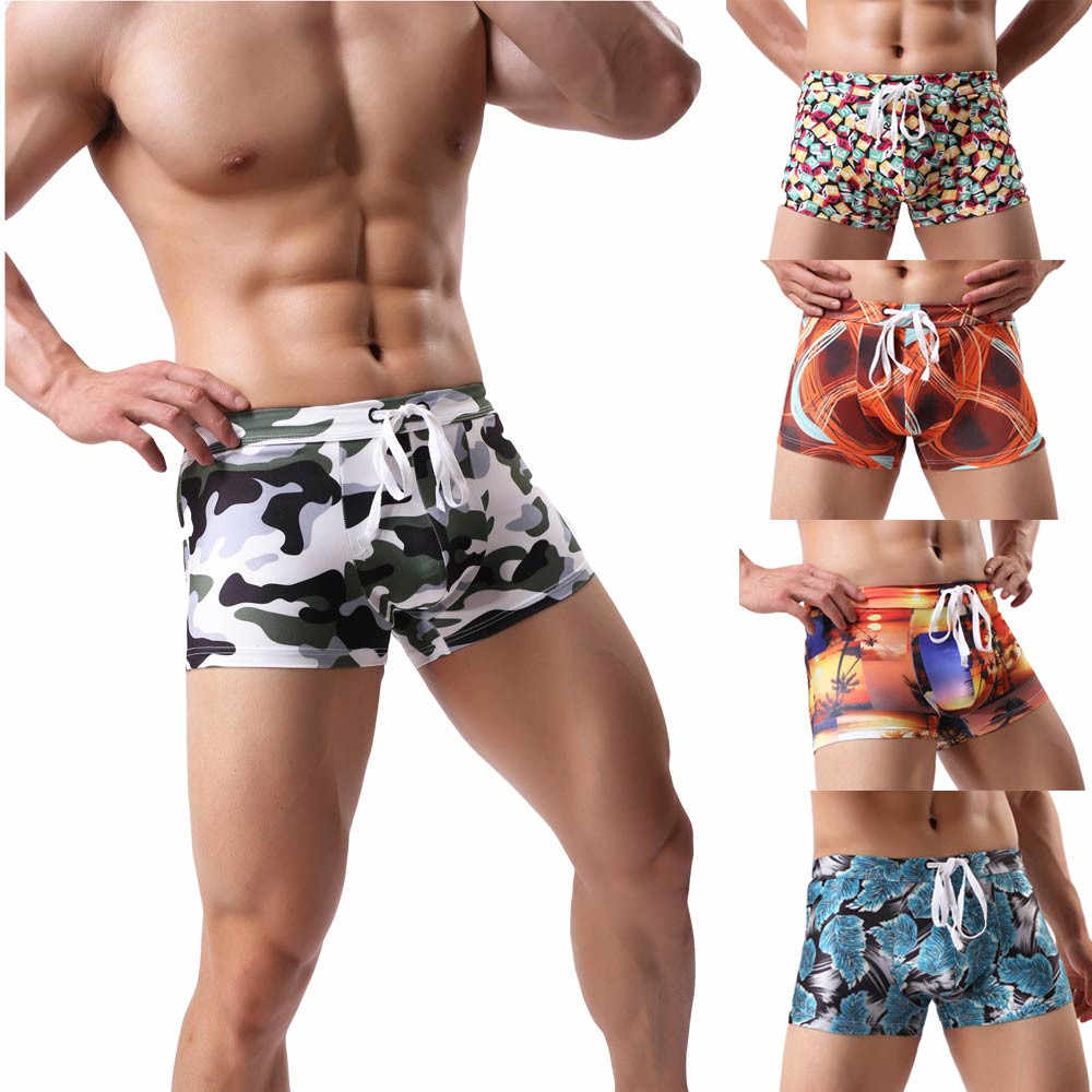 New Summer Swim Trunks Men's Swimwear Swimsuit Maillot De Bain Boy Swim Suits Boxer Shorts Swimming Surf Beach Wear#A