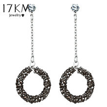 17KM Vintage Long Dangle Chandelier Earrings For Women Handmade Round Geometric Rhinestone Earring Patry Statement Jewelry(China)