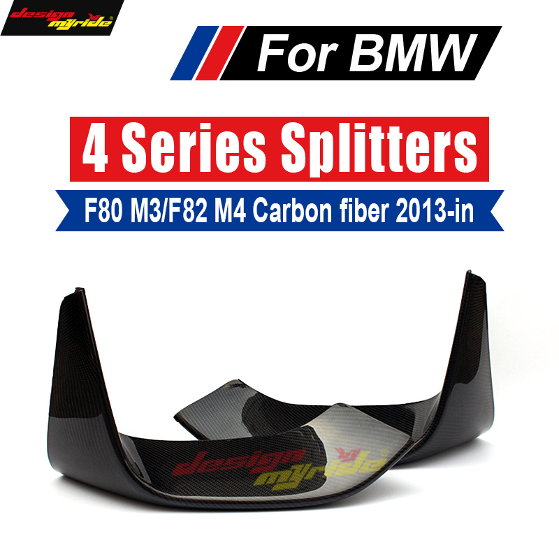 2PCS Carbon Fiber Front Bumper Lip Splitters Flap Cupwings M Style for BMW 3 Series F80 M3 4 Series F82 F83 M4 2012 - 2018 image