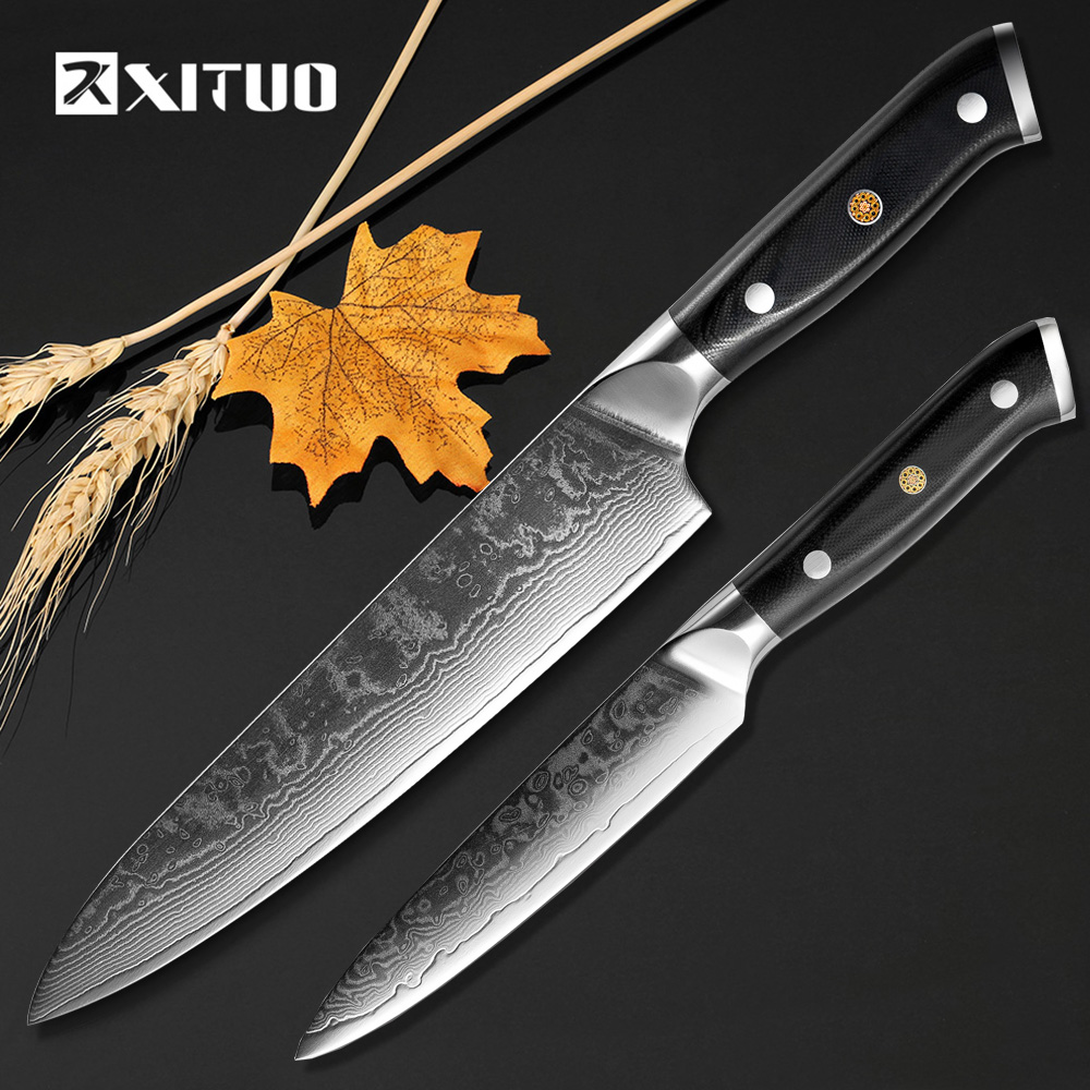 XITUO New 2 PCS Kitchen Knife Sets 67 Layers Japanese Damascus Steel Paring Utility Cleaver Santoku VG-10 Blade Chef Knife Gift