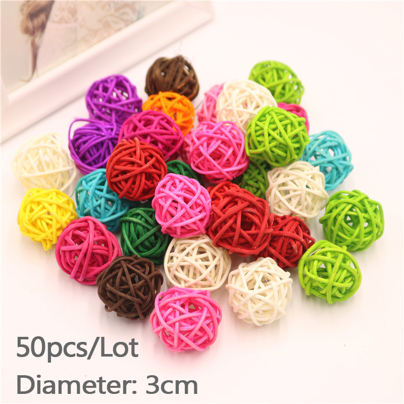 50pcs Lot 3cm Christmas Tree Decorative Rattan Ball Birthday Home Wedding Party Deration Ornament Craft Ball Hanging Deco in Party DIY Decorations from Home Garden