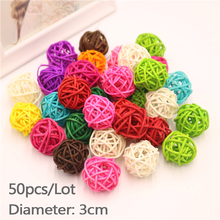 50pcs/Lot 3cm Christmas Tree Decorative Rattan Ball Birthday & Home Wedding Party Deration Ornament Craft Hanging Deco