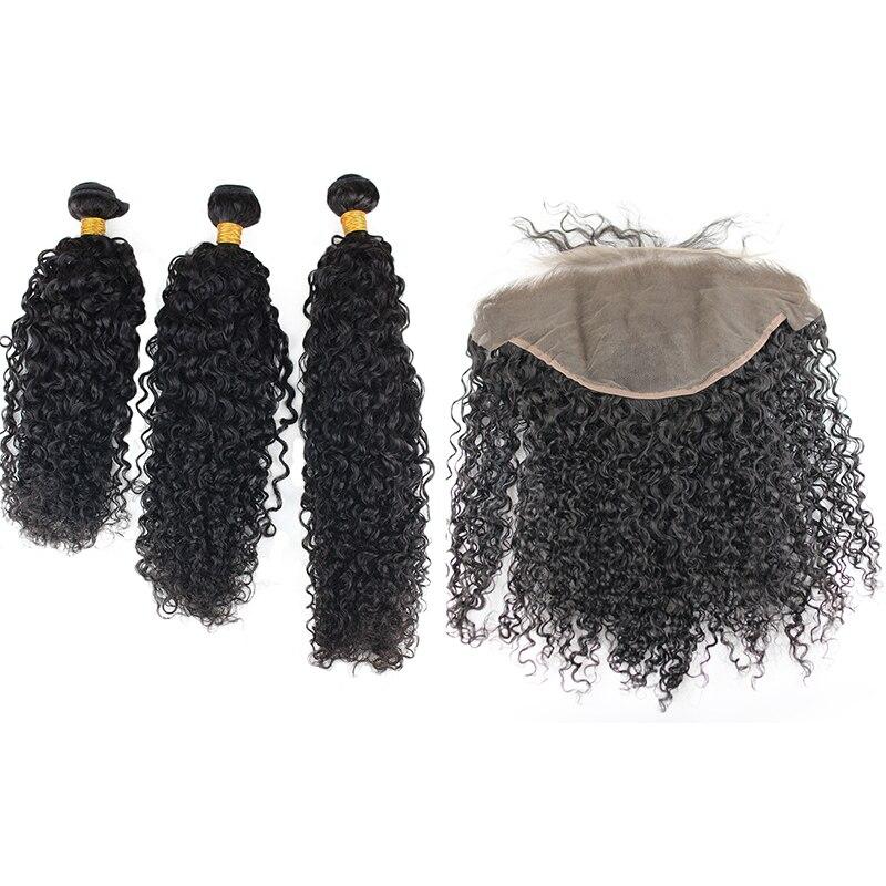 Волна воды бразильский Remy натуральные волосы 3 Связки с синтетический Frontal шнурка волос 13x6 синтетическое закрытие предварительно сорвал