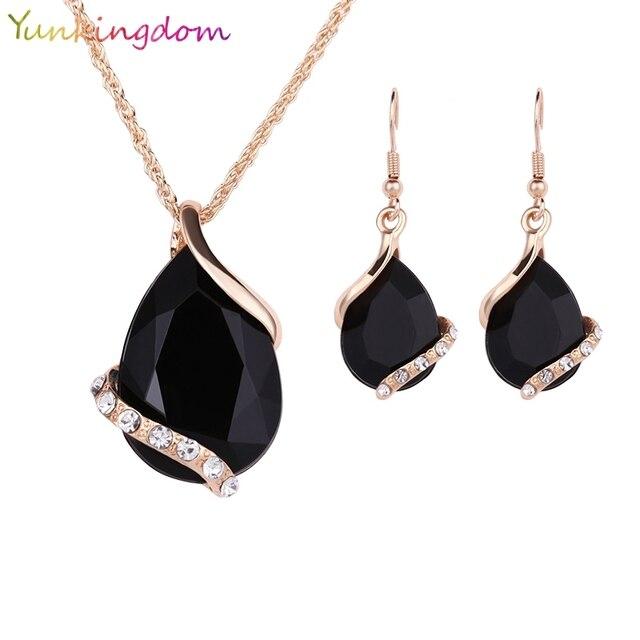 4e773fccf € 1.81 20% de DESCUENTO|Yunkingdom negro pendientes de cristal collares  conjuntos de Color oro, juegos de joyería para mujer diseño geométrico ...