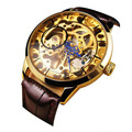 Brand Men Mechanical Skeleton Watch Hand Wind Up Gold Dial Brown Leather Strap relogio masculino