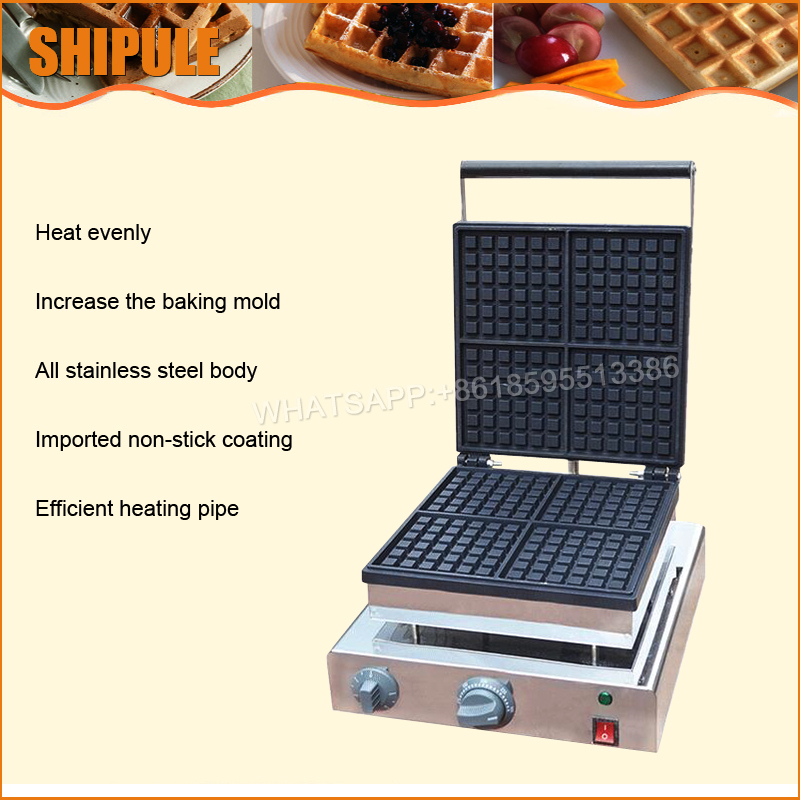 Commercial waffle making machine; ice cream waffle cone maker waffel machines square pan rolled fried ice cream making machine snack machinery
