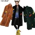 Largo Invierno Cálido Faux Fur Coat Señoras Ejército Verde Amarillo Carta bordado Outwear Mujer Plus Tamaño XL Chaquetas De Piel Sintética SWQ0264-4