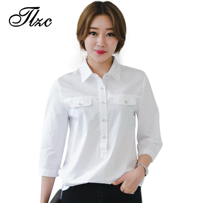 ₪Tlzc moda mujer ropa de trabajo blanco Blusas manga tres cuartos ...