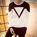 Hombres de La Camiseta 2016 Otoño Nuevo Coreano de La Manera Triángulo Invertido Homme Casual O-cuello de Manga Larga Camisetas Para Hombre delgado Camiseta 6XL 5XL-M