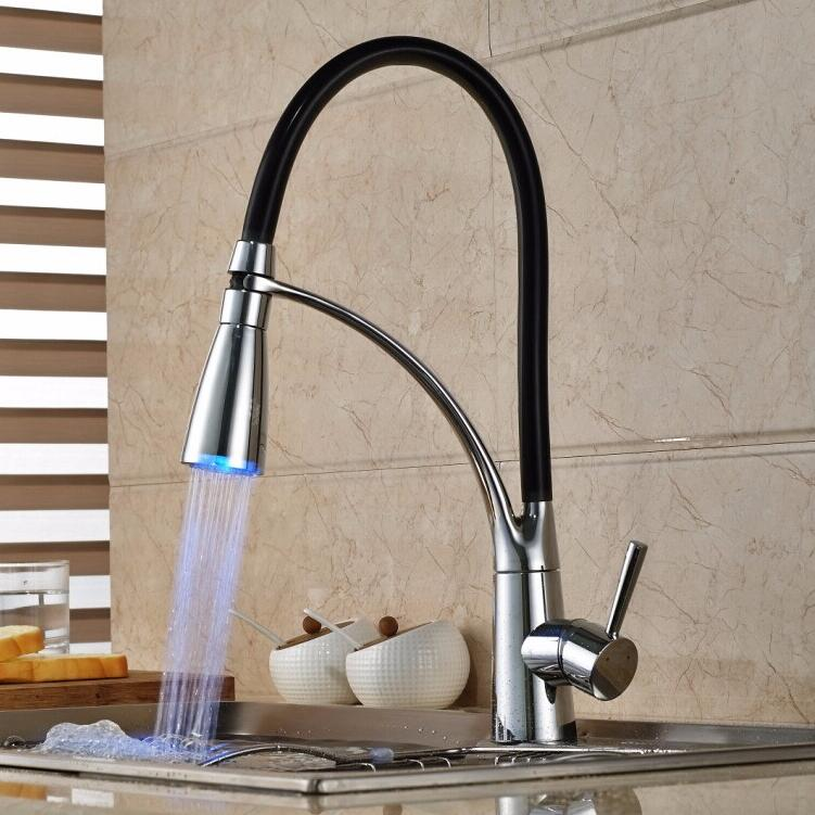 New 360 degree Modern swivel faucet single hole LED kitchen faucet, Deck Mount Pull Out Dual Sprayer Nozzle kitchen mixer tap swanstone dual mount composite 33x22x10 1 hole single bowl kitchen sink in tahiti ivory tahiti ivory