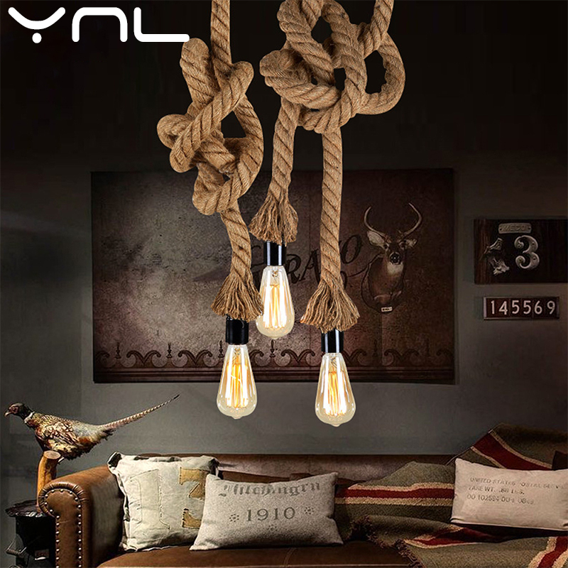 Vintage Hemp Rope Pendant Light E27 Base Loft Creative Personality Industrial Pendant Lamp For Restaurant Coffee Shop Light