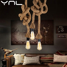 Vintage Hemp Rope Pendant Light E27 Base Loft Creative Personality Industrial Pendant Lamp for Restaurant Coffee shop Light(China)