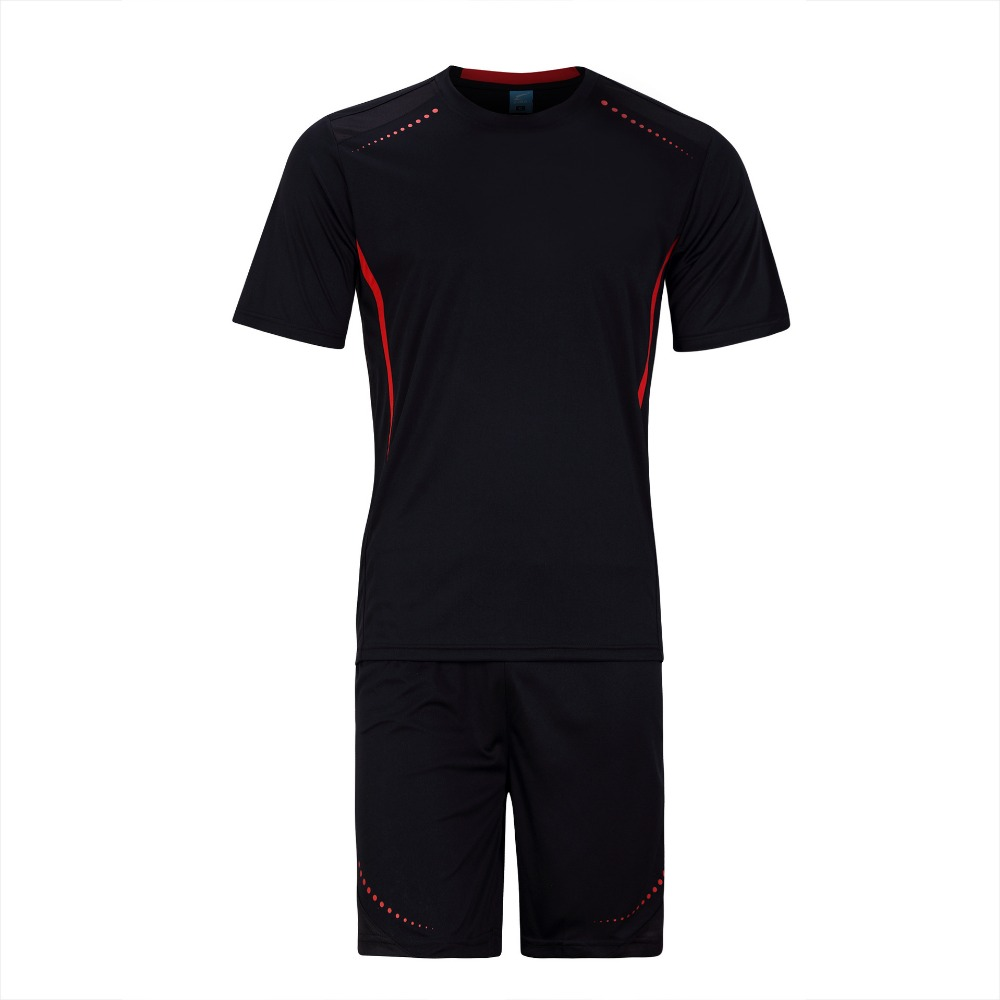 2016 New Arrival Men Soccer Jersey Set Blank Paintless Football Training Suit Breathable Short Sleeve futbol Set 6 Colors