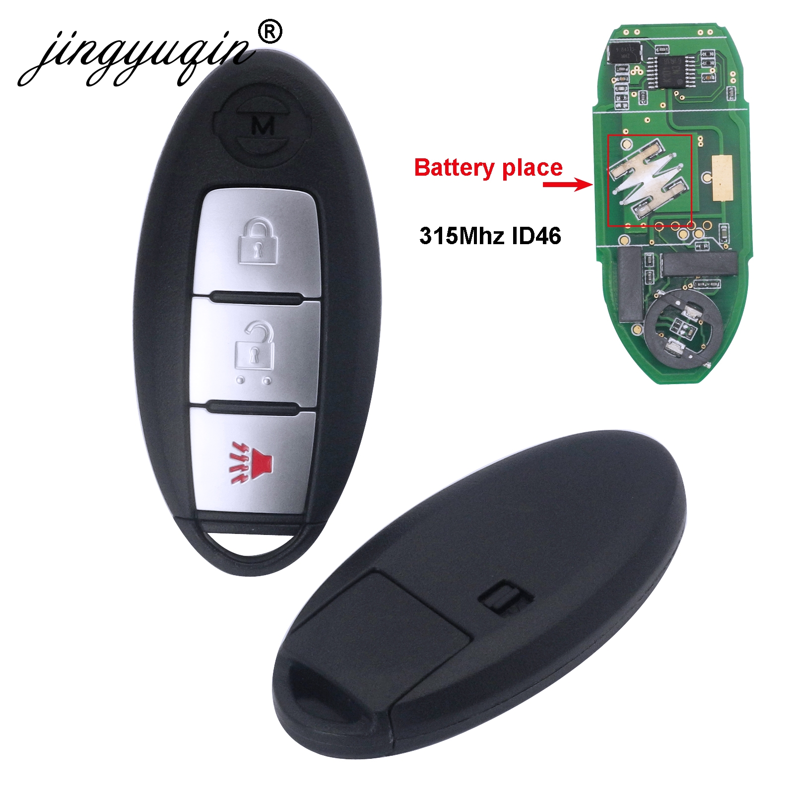 Clé de voiture intelligente jingyuqin 315MHz ID46 puce pour NISSAN March ensoleillé Tiida Livina Sylphy Altima Maxima 3 boutons porte-clés