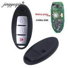 Jingyuqin inteligente chave do carro remoto 315mhz id46 pcf7952 para nissan march ensolarado tiida livina sylphy altima maxima 3 botão keyless ir