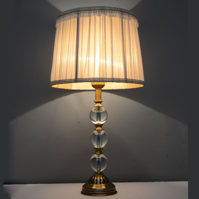 Vintage Luxury Crystal Ball Table Lamp E27 Living Room Bedroom Bedside Grey Fabric Shades Deco