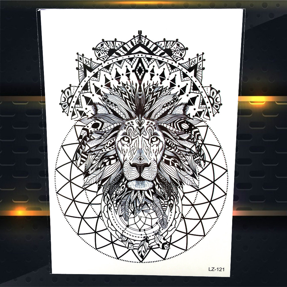 Hot Sale 25 Design Indian Tribal Lion King Totem Temporary Tattoo