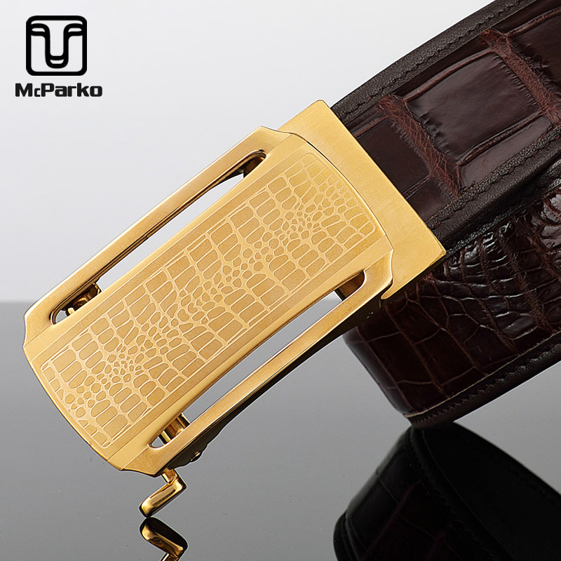 McParko Luxury Alligator Belt Automatic Men Belt Genuine Leather Crocodile Skin Waist Belt Elegant Gift For Male Top Quality