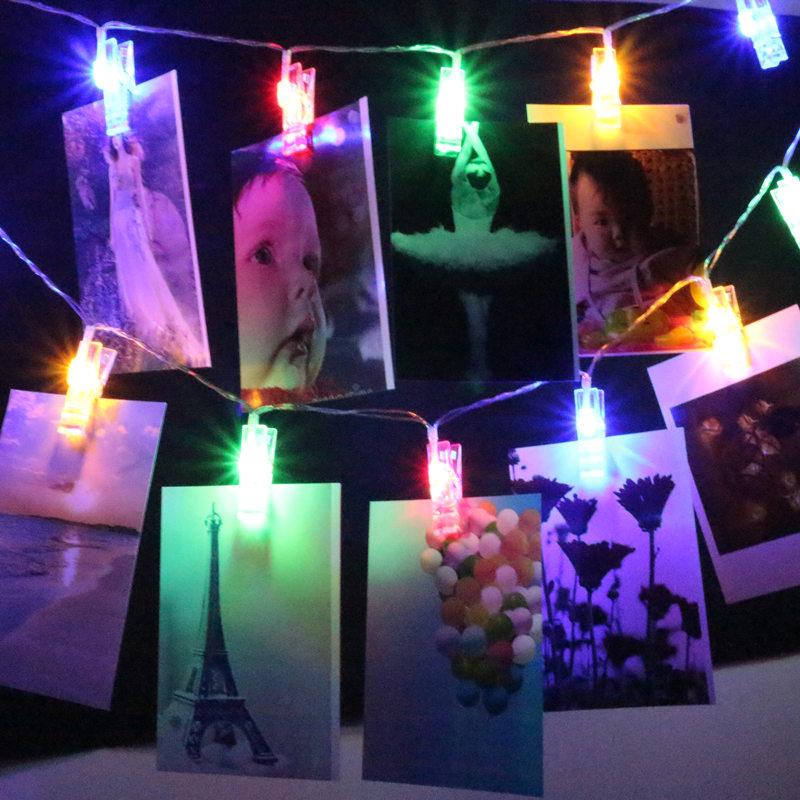 Led String Cilp light 1m 2m 5m 10m Led photo card wall 3AA Battery Operated Christmas Garlands Wedding Valentines Decoration
